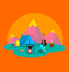Colorful flat camping concept vector