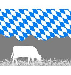 Cow alp and bavarian flag vector