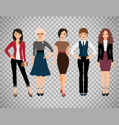 cute young women on transparent background vector image vector image