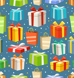 Different color gift boxes seamless pattern design vector