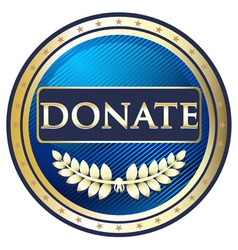 Donate Blue Label vector image vector image