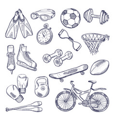 Doodle set of sport equipment hand drawn vector
