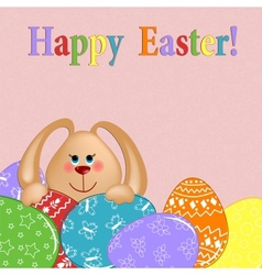 Easter greetings card with rabbit and eggs vector image vector image
