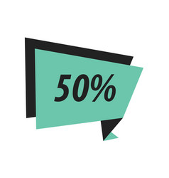 Fifty percent label origami black green vector