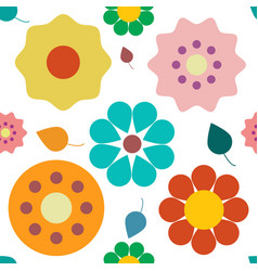 Flowers seamless pattern colorful retro plant vector