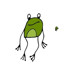 Funny frog sketch for your design vector image