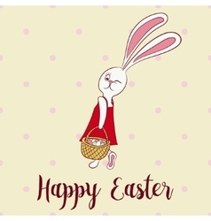 Happy easter poster rabbit girl keeps egg bascet vector image vector image