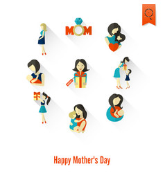 happy mothers day icons vector image