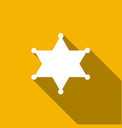 Hexagram sheriff star badge flat icon with long vector