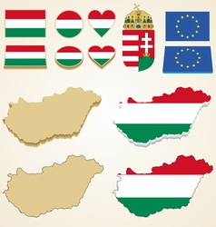 Hungary map flag 3D pack vector image