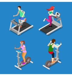 Isometric People Running on Treadmill in Gym vector image vector image