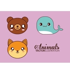 Kawaii bear whale and fox icon cute animal vector