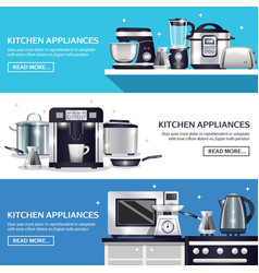 Kitchenware horizontal banners set vector
