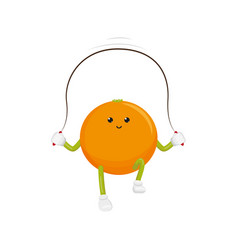 orange character jumping rope exercise vector image vector image