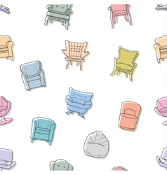 Seamless armchairs pattern vector image