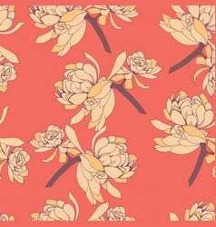 Seamless pattern of yellow succulent leaves vector