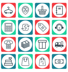 Set of 16 ecommerce icons includes discount vector