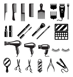 set of beauty salon tools vector image vector image