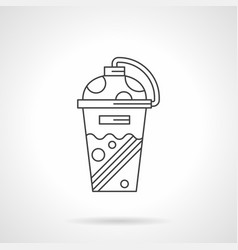 shaker cup flat line icon vector image vector image