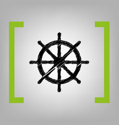 Ship wheel sign black scribble icon in vector