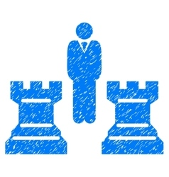 Strategy chess towers grainy texture icon vector