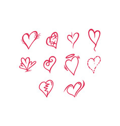 thin line heart icon set vector image vector image