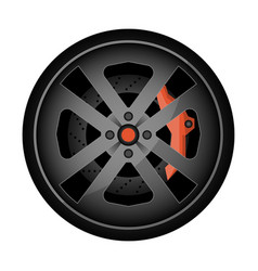 titanium auto rim icon vector image vector image