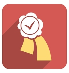 Validation seal flat rounded square icon with long vector