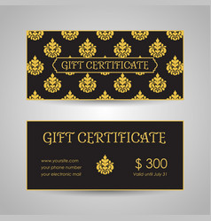 vintage arabic style gift certificate template vector image vector image