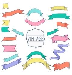 Vintage color ribbon tape text placeholder vector