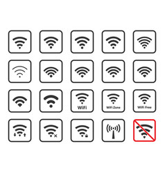 wifi icons and signs wireless signal vector image vector image