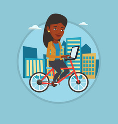 Woman riding bicycle in the city vector