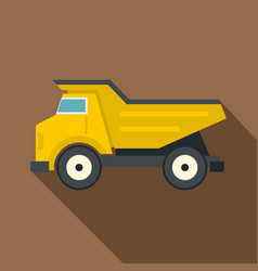 Yellow dump truck icon flat style vector