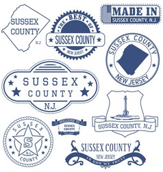 Sussex county new jersey stamsp and seals vector