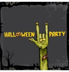 Halloween rock n roll zombie background vector