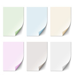 Set of empty paper sheet in pastel colors vector image