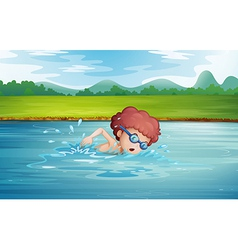 A boy swimming at the river with goggles vector