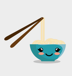 Kawaii noodles icon vector