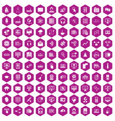 100 on-line seminar icons hexagon violet vector