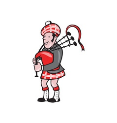 Scotsman bagpiper bagpipes cartoon vector