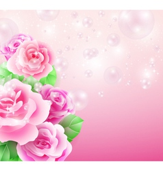 Glowing background with roses and bubbles vector image