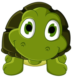 cute green turtle cartoon vector image