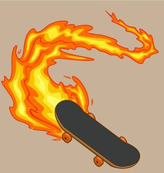 Blazing fiery skateboard vector