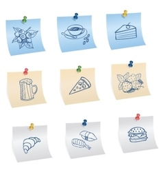 Stickers with pins and food symbols vector