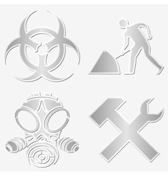 Warning symbols stickers vector