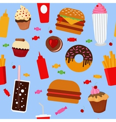 Fast food seamless pattern with sweets candies vector