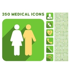 Human couple icon and medical longshadow icon set vector