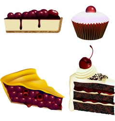 Cake and pastry - cherries vector