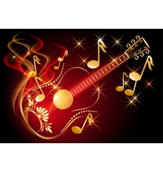 Guitar and musical notes vector