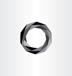 Geometric black polygon circle abstract background vector